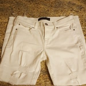 Exress distressed white jeans